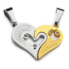 Кулоны для влюбленных - Признание в любви (Серебристо-золотистые)