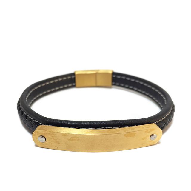 Мужской браслет - Аполлон (Чорний з золотом)
