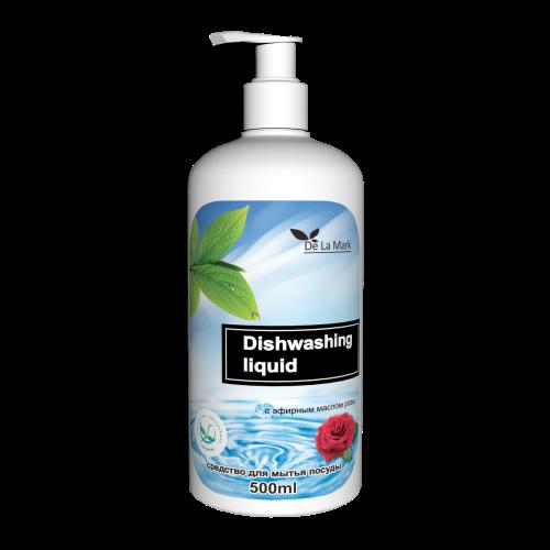 DeLaMark Средство для мытья посуды с эфирным маслом розы 0,5л.