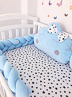 Защита бортик косичка в детскую кроватку для новорожденных голубая