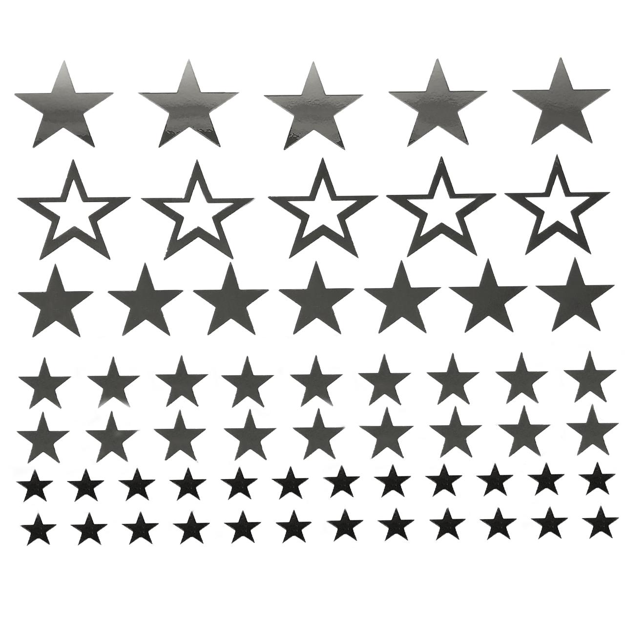 Набор наклеек Звезды зеркальные серебро + монтажная пленка