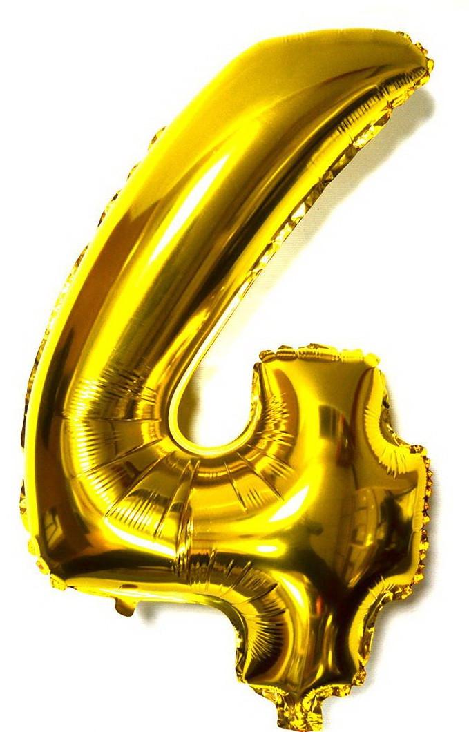 Шар цифра 4 Четыре золото фольга 78 см