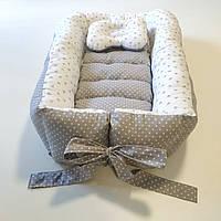 Кокон-гніздечко позиціонер для немовлят двосторонній зі зйомним матрациком + ортопедична подушечка