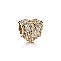Шарм золотое сердце паве из желтого золота 585 пробы пандора (pandora)