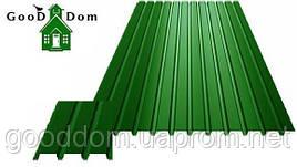 Профнастил ПС-8 стеновой, (зелёный)