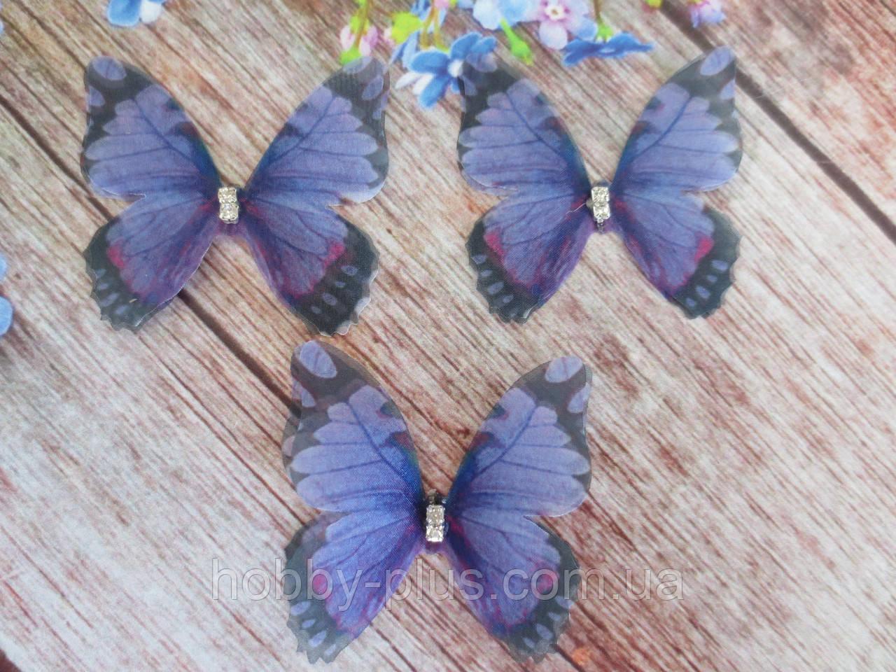 "Аппликация, ""Бабочка шифоновая"", двухслойная, цвет на фото, 45х42 мм, 1 шт."