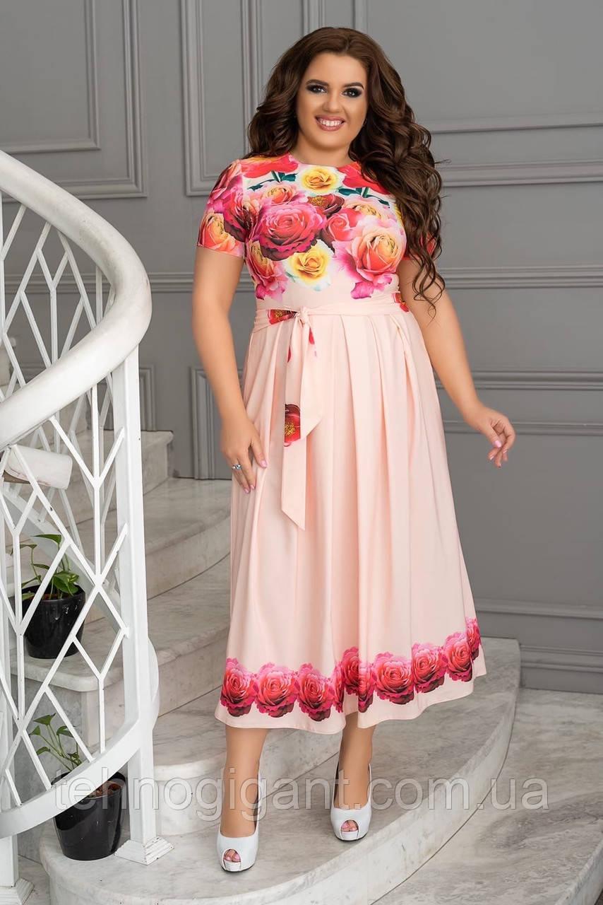 Летнее женское платье в пол, из легкой ткани свободного кроя, большого размера, р. 48, 50, 52, 54, Персиковый