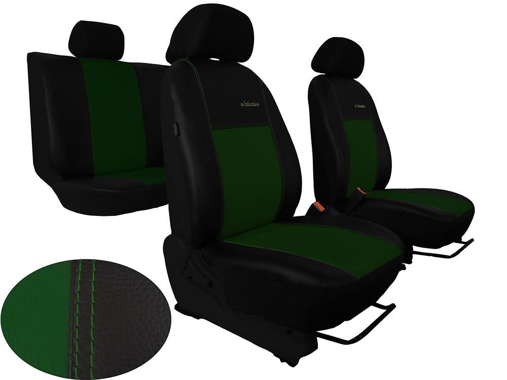 Авточохли універсальні (повний набір) Pok-ter Exclusive з екошкіри зелений