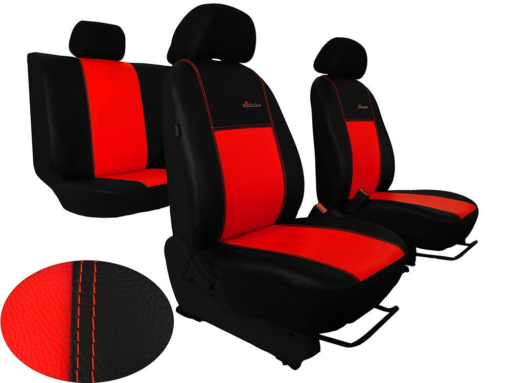 Авточохли універсальні (повний набір) Pok-ter Exclusive з екошкіри червоний