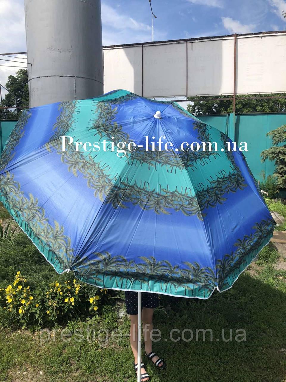 Парасолька діаметром 2,2 м. Пластикові спиці. Срібне покриття. Пальми, фон Зелений