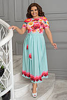 Летнее женское платье в пол, из легкой ткани свободного кроя, большого размера, р. 48, 50, 52, 54, Голубое