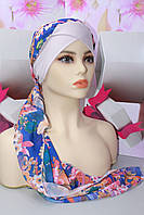 Чалма шапка на повязке трикотажной голубая с узором цветы летняя