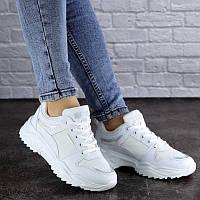 Кроссовки, для девушки (белого цвета) Krasotka shop, эко-кожа
