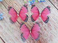 "Аппликация, ""Бабочка шифоновая"", двухслойная, цвет на фото, 45х40 мм, 1 шт."