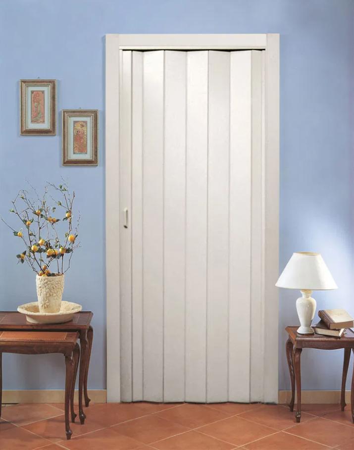 Двери гармошка глухие Ясень Скандинавский (раздвижные, межкомнатные, для душевых, кладовок)