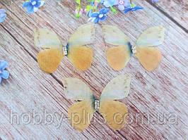 """Аплікація, """"Метелик шифонова"""", двошарова, колір на фото, 43х35 мм, 1 шт."""