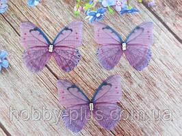"""Аплікація, """"Метелик шифонова"""", двошарова, колір на фото, 45х38 мм, 1 шт."""