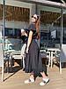 Стильное летне платье широкого кроя с воланами на плечах и пояском в комплекте, фото 4