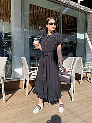 Стильное летне платье широкого кроя с воланами на плечах и пояском в комплекте