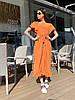 Стильное летне платье широкого кроя с воланами на плечах и пояском в комплекте, фото 8