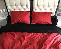 """Двухспальное евро постельное белье бязь голд""""однотонный красный+черный"""""""