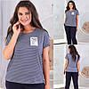 Смугаста жіноча стильна жіноча літня футболка батал з віскози (р. 48-54). Арт-1802/9
