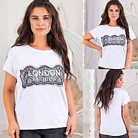 Яскрава стильна жіноча літня футболка батал з віскози з накаткою (р. 48-54). Арт-1805/9, фото 1