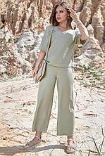 Стильный брючный костюм коттон арт 1365.4225 размер  S.М.L.XL ХХL (св-рен)
