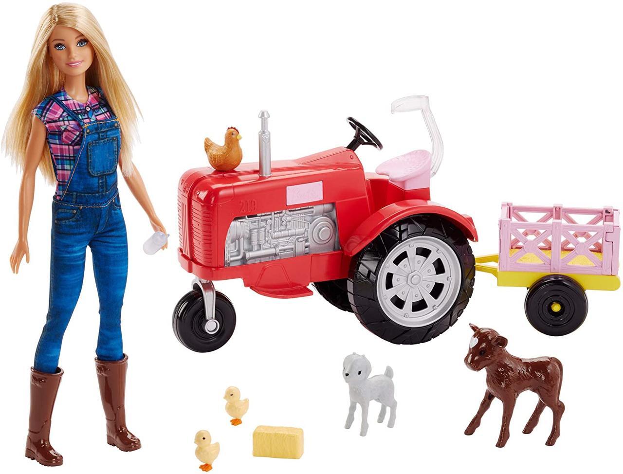 Набор кукла Барби Фермер Barbie Doll and Tractor с трактором и животными