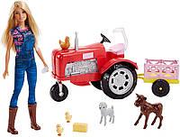 Набор кукла Барби Фермер Barbie Doll and Tractor с трактором и животными, фото 1