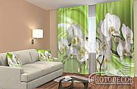Фото Шторы 3D Орхидеи на зеленом фоне