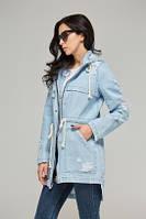Куртка парка Адели джинсовая летняя котоновая голубая