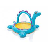 Дитячий надувний круглий басейн 61х22 см Іntex Динозаврик з надувним дном і фонтанчиком для дачі