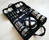 Походной набор посуды для пикника из нержавеющей стали в сумке на 10 персон