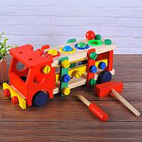 Деревянная игрушка конструктор машинка с молоточком