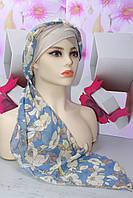 Чалма шапка  разноцветная шифоновая на повязке бежевая с голубым летняя