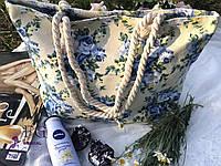 Пляжная сумка бежевого цвета с принтом