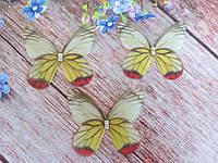 "Аппликация, ""Бабочка шифоновая"", двухслойная, цвет на фото, 46х40 мм, 1 шт."