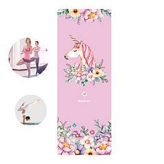Коврик для фитнеса и йоги Meileer rubb-22 Розовый единорог каремат 1830*680*4mm