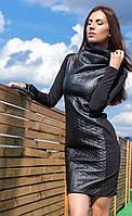 Женское платье на весну с высоким воротником | Черное, фото 1