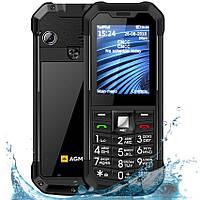 Телефон кнопочный защищенный с хорошим мощным аккумулятором AGM M3 black Russian keyboard (зарядка от USB)