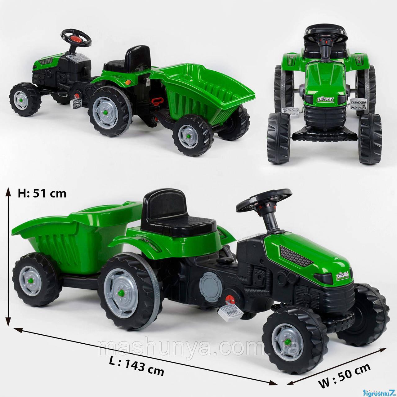 Трактор дитячий педальний Pilsan 07-316 з причепом