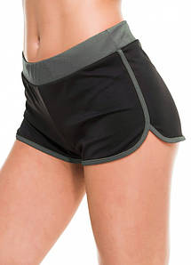 Спортивні легкі шорти жіночі чорні з сірим