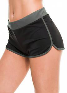 Спортивные легкие шорты женские черные с серым