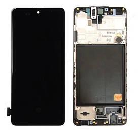 Дисплей для телефона Samsung A515 | Galaxy A51 (GH82-21669A) с сенсором в рамке (Черный) Сервисный оригинал