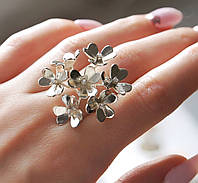 """Шикарное серебряное колечко 925 пробы форме цветка с белыми фианитами """"Палермо"""", фото 1"""