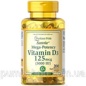 Вітамін Д-3 Puritan's Pride Vitamin D3 5000 200 IU капс.