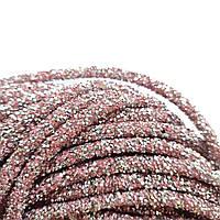Полый стразовый шнур Розовый 50 см, фото 1