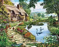 Картина раскраска по номерам на холсте 40*50см Babylon VP144 Коттедж у озера