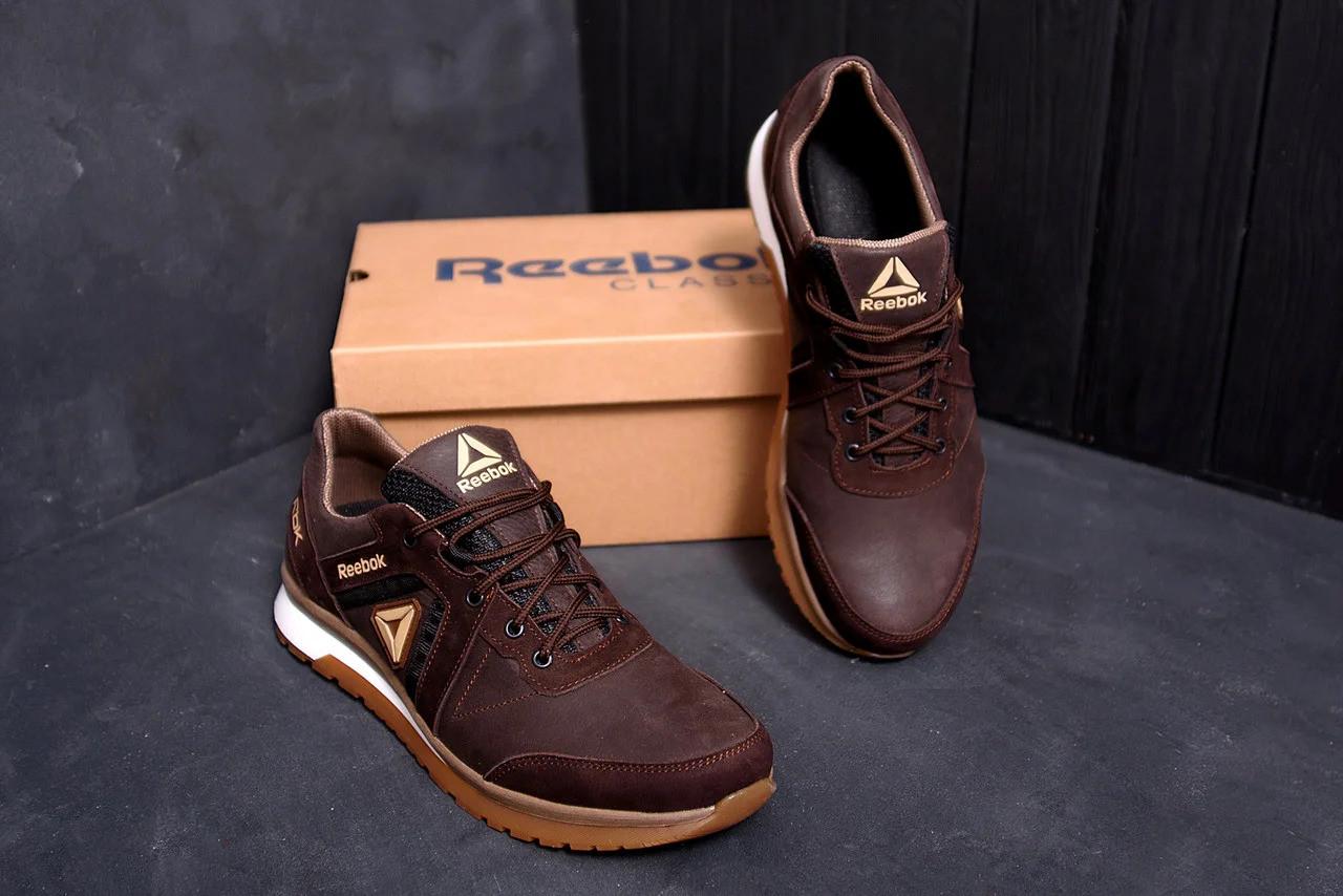 Мужские кожаные кроссовки Reebok SPRINT TR Brown/ ПК-R-04 кор